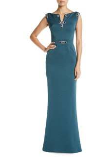 Zac Posen Jewel-Detailed Sleeveless Column Evening Gown