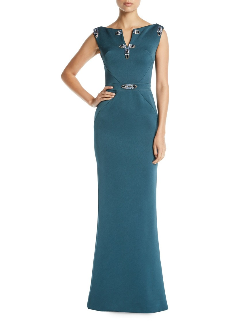 Zac Posen Jewel-Detailed Sleeveless Column Evening Gown   Dresses