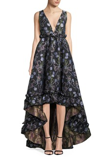 Zac Posen Judith Floral-Jacquard Fit-&-Flare Gown