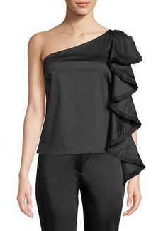 Zac Posen Kathleen One-Shoulder Fringed-Drape Top