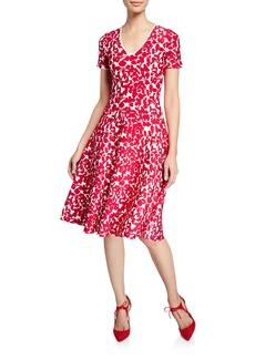 Zac Posen Knit Floral Cap-Sleeve Dress