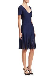 Zac Posen Knit Sheer Pleated V-Neck Dress