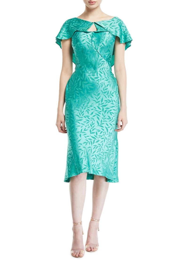 Zac Posen Leaf-Jacquard Crepe Ruffled-Capelet Dress