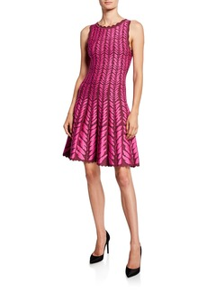 Zac Posen Leaf-Jacquard Knit Dress