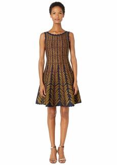 Zac Posen Leaf Jacquard Sleeveless Fit and Flare Knit Dress