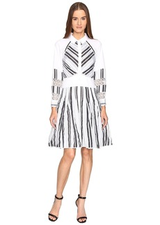 Zac Posen Long Sleeve Stripe Cotton Organdy Dress