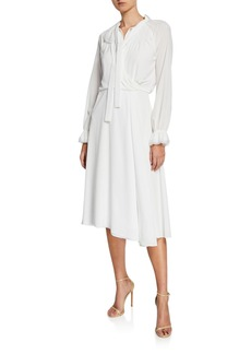 Zac Posen Long-Sleeve Tie-Neck Flowy A-Line Dress