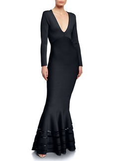 Zac Posen Long Sleeve V-Neck Mermaid Gown