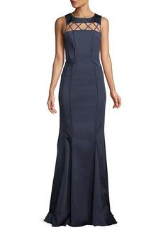 Zac Posen Lori Strappy-Yoke Faille Evening Gown