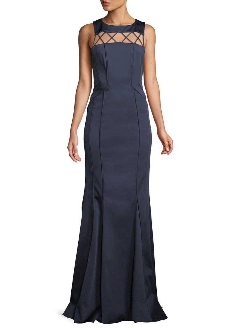 Zac Posen Lori Strappy-Yoke Faille Evening Gown | Dresses