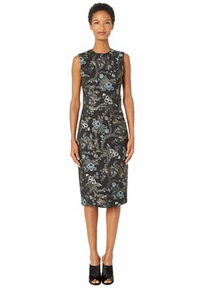 Zac Posen Lurex Garden Jacquard High Neck Cap Sleeve Fitted Cocktail Dress