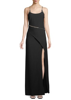 Zac Posen Marilyn Pearlescent-Inset Asymmetric Gown