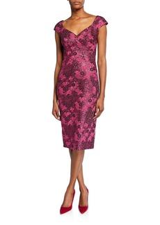 Zac Posen Metallic Floral-Jacquard Cocktail Dress