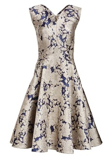Zac Posen Metallic Jacquard Cocktail Dress