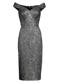 Zac Posen Metallic Jacquard Off-The-Shoulder Sheath Dress