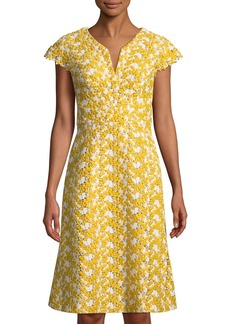 Zac Posen Mimosa Lace Cap-Sleeve Sheath Cocktail Dress