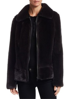Zac Posen Mink Fur & Suede Cropped Jacket