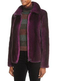 Zac Posen Mink-Fur Zip-Front Jacket
