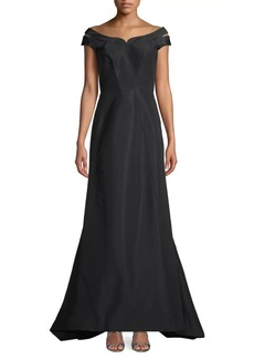 Zac Posen Off-The-Shoulder High-Low Silk Gown