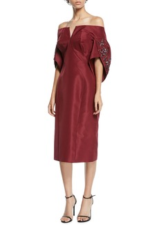 Zac Posen Off-The-Shoulder Jeweled Balloon-Sleeve Cocktail Dress