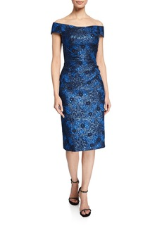 Zac Posen Off-the-Shoulder Metallic Party Jacquard Dress