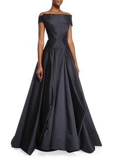 Zac Posen Off-the-Shoulder Pleated Ball Gown  Black