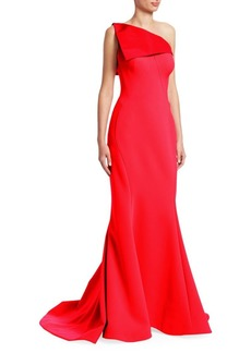 Zac Posen One-Shoulder Crepe Gown