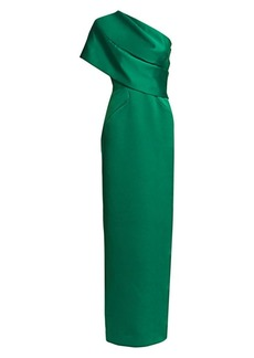 Zac Posen One-Shoulder Double-Face Duchess Gown