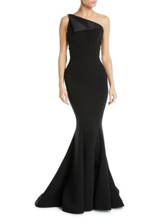 Zac Posen One-Shoulder Fold-Over Bodice Crepe Mermaid Evening Gown