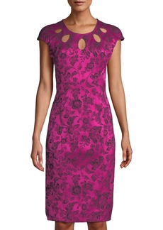 Zac Posen Party-Jacquard Cutout-Neckline Sheath Cocktail Dress