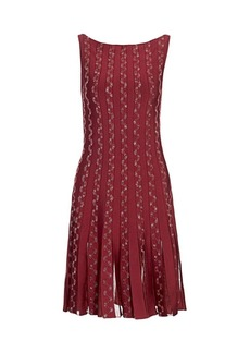 Zac Posen Radiant Stripe Beaded Boatneck Knit Dress