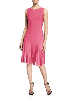 Zac Posen Radiant Striped Knit Fringe Hem Dress