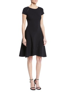 Zac Posen Ribbed Short-Sleeve Fit-&-Flare Dress
