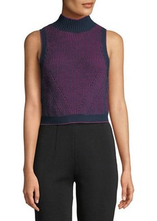 Zac Posen Ribbed Turtleneck Crop Top