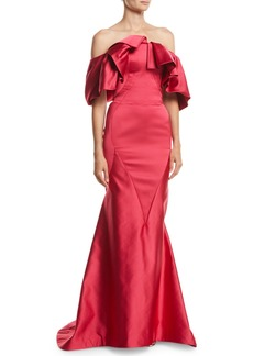 Zac Posen Ruffled Off-the-Shoulder Trumpet Evening Gown