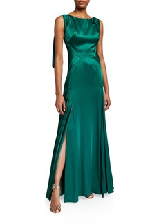 Zac Posen Satin Boat-Neck Draped-Back Gown