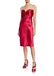 Zac Posen Satin Bustier Knotted Bodycon Dress