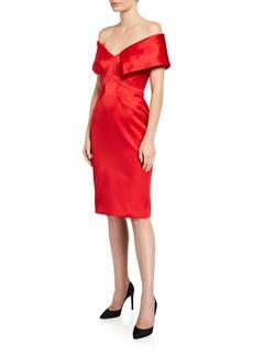 Zac Posen Satin Off-the-Shoulder Sheath Dress