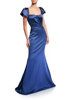 Zac Posen Satin Square-Neck Trumpet Gown