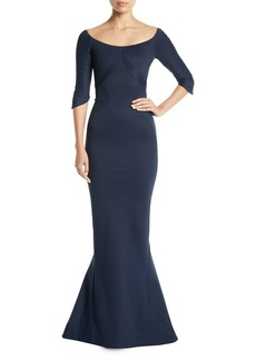 Zac Posen Scoop-Neck Elbow-Sleeve Fitted Evening Gown