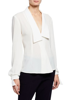 Zac Posen Shawl-Collar Wrap-Front Blouse
