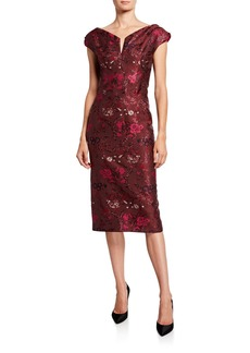 Zac Posen Shimmer Cap-Sleeve Dress