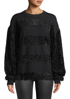 Zac Posen Shimmer-Fringe Striped Sweater
