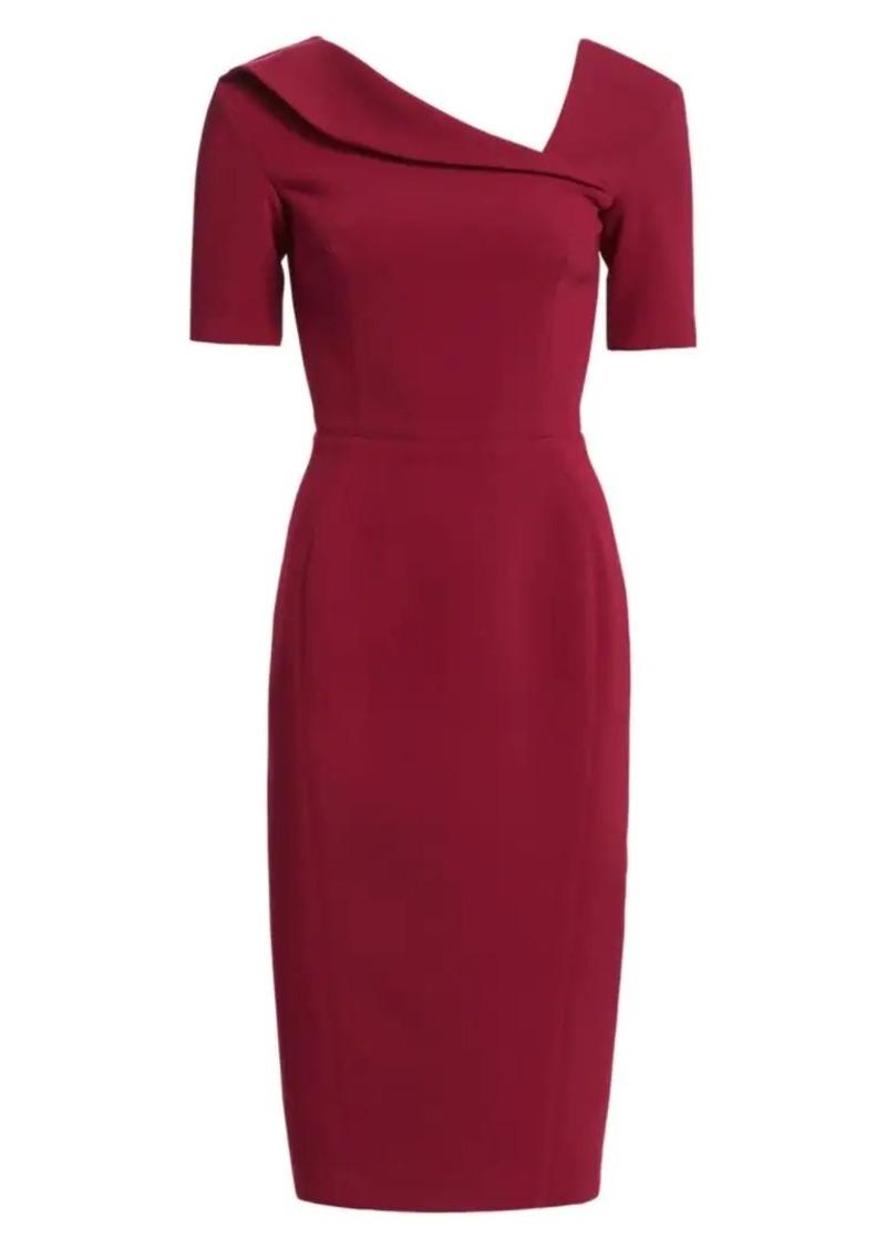 Zac Posen Short-Sleeve Asymmetric Neck Crepe Sheath Dress