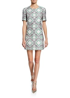 Zac Posen Short-Sleeve Metallic Jacquard Shift Cocktail Dress
