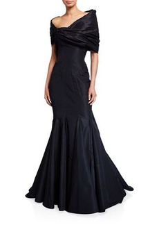 Zac Posen Silk Faille One-Shoulder Mermaid Gown