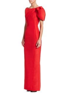 Zac Posen Silk Faille Puff-Shoulder Column Gown