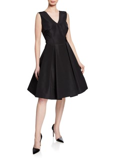 Zac Posen Silk Faille V-Neck Cocktail Dress