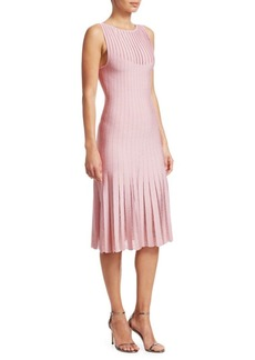 Zac Posen Sleeveless Plissé Embellished Knit Dress