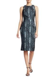 Zac Posen Snakeskin-Print Metallic Jacquard Cocktail Dress